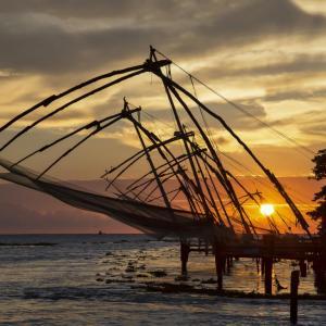 FISHING NETS AT KOCHIN PORT KERALA SOUTH INDIA - 1